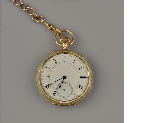 An 18ct gold open face keyless wind pocket watch and albert chain