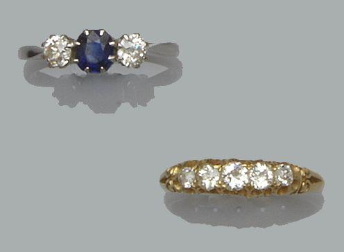 A five stone diamond ring and a three stone sapphire and diamond ring (2)