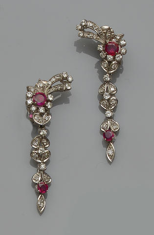 A pair of ruby and diamond earpendants
