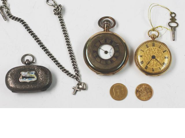 An 18ct gold open face pocket watch, (6)