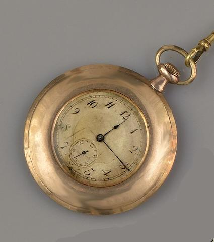 A 9ct gold slim open face pocket watch and an Albert chain (2)