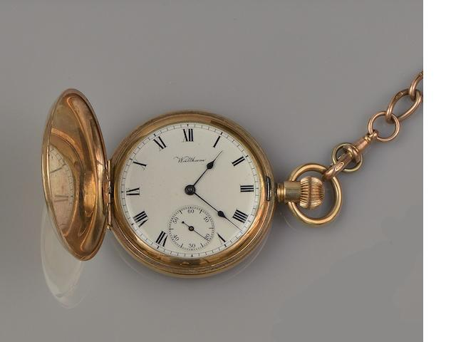 Waltham: A keyless wind hunter pocket watch and a 9ct gold Albert chain