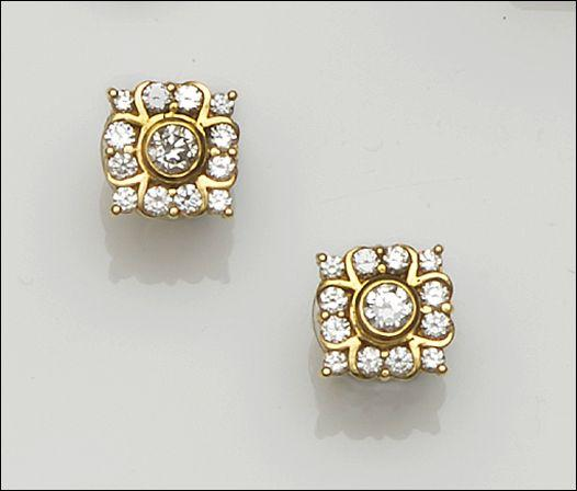 Boodles: A pair of diamond set earstuds
