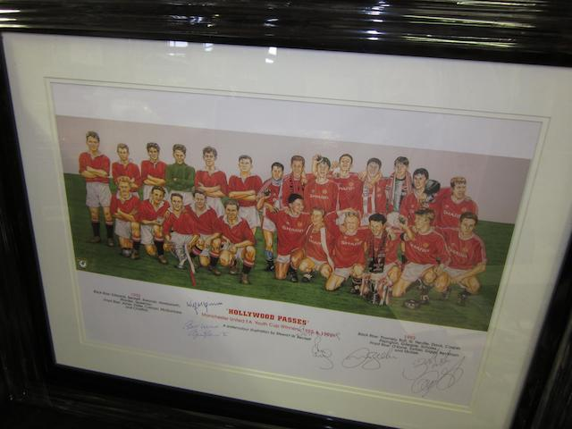 'Hollywood Passes' Manchester United Youth Cup teams 1955 and 1992 hand signed lithograph
