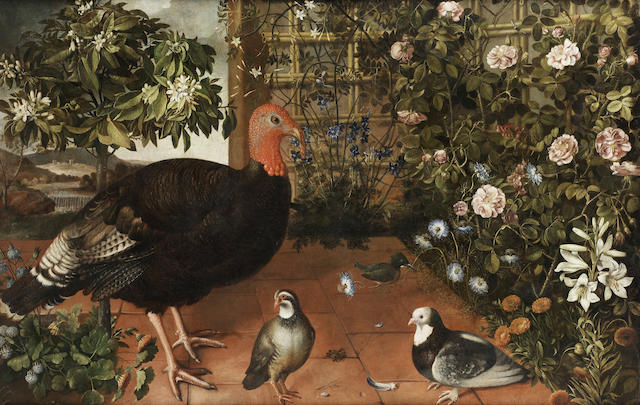 Tomas de Hiepes (Spanish, circa 1600-1674) Turkey, partridge and pigeons on a terrace