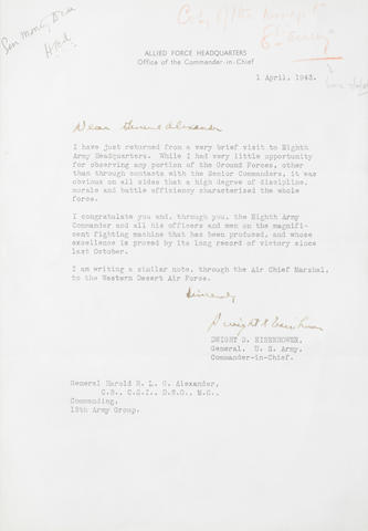 EISENHOWER (DWIGHT D.) Typed letter signed, as Commander-in-Chief of the Allied Armies, to General Alexander, Commanding 18th Army Group, sending congratulations to the Eighth Army; framed with other messages to Alexander, 1943