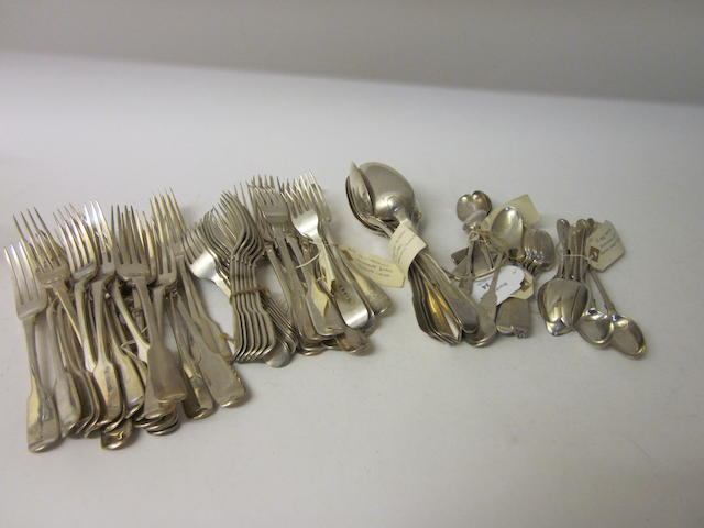 A composite collection of silver fiddle pattern cutlery Various dates and makers  (86)