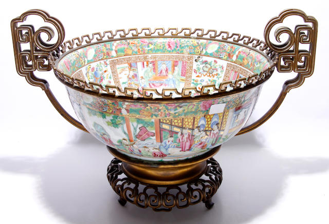 A Canton export famille rose large bowl, and a square section vase, both with elaborate gilt metal mounts