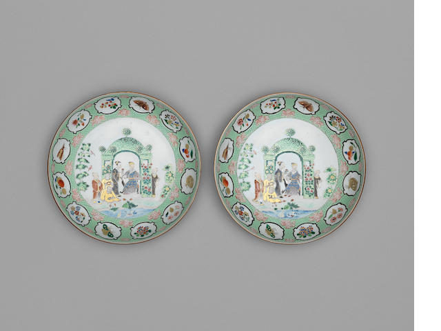 A pair of famille rose export 'Bower' pattern plates Early Qianlong