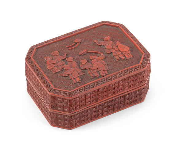 An oblong octagonal cinnabar lacquer box and cover 18th century