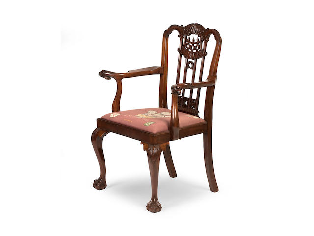 A George II style mahogany armchair, of Royal Interest