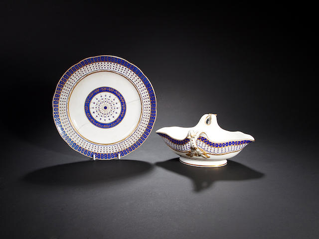 A Sèvres sauceboat and plate, dated 1788