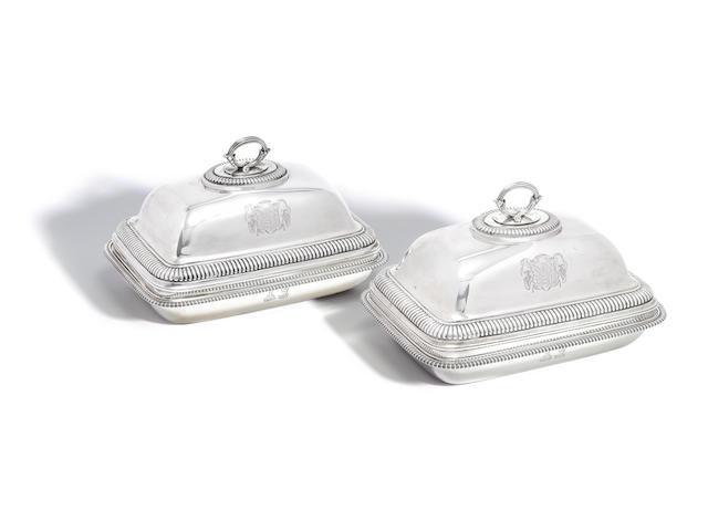 A pair of George III silver entrée dishes with domed covers by Paul Storr, London 1804, stamped with duty mark for double duty  (2)