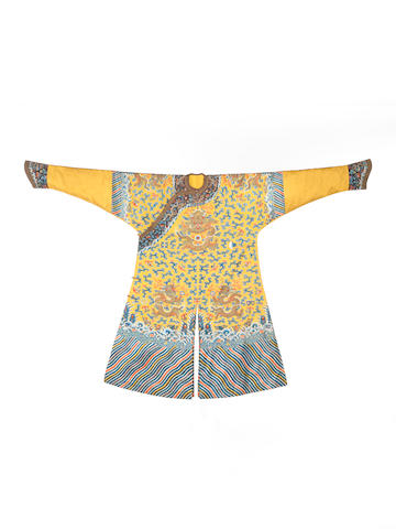 An important Imperial silk 'Twelve-Symbol' yellow-ground robe, jifu 19th century