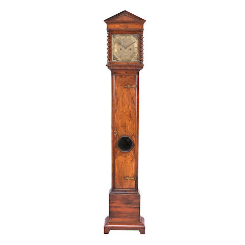 A 17th century and later walnut cased longcase clock Engraved James Clowes, London