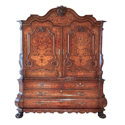A large and impressive 19th century Dutch walnut and floral marquetry armoire