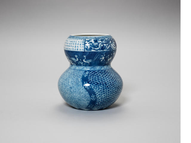 A 'Shonsui' blue and white double-gourd vase or Mizuzashi China or Japan, first half of the 19th century