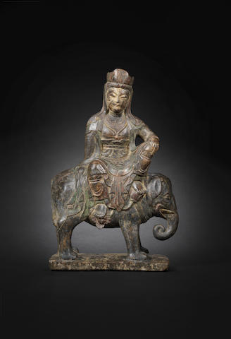 A stone figure of Guanyin on elephant Yuan/Ming Dynasty