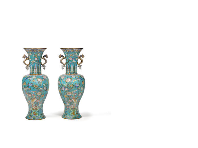 A rare and massive pair of cloisonné enamel and gilt-bronze baluster vases Jiaqing/Daoguang
