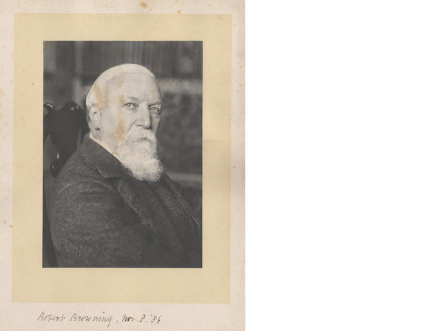 BROWNING (ROBERT) Photograph of Browning, signed and dated, 1886