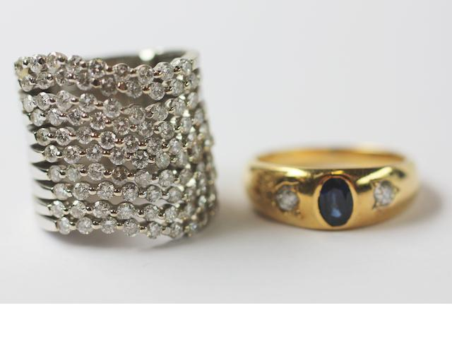 A diamond dress ring and a sapphire & diamond ring,