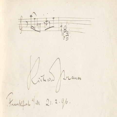 STRAUSS (RICHARD) Autograph musical quotation in an album, also signed by Mascagni, Englebert Humperdinck, Joachim, Elgar and others