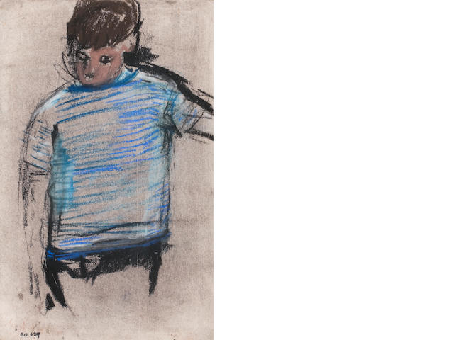Joan Eardley RSA (British, 1921-1963) Boy in Striped Jersey 22.25 x 14 cm. 98 3/4 x 5 1/2 in.)