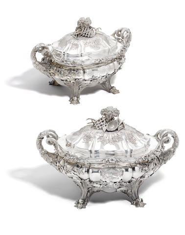 A fine pair of William IV presentation silver two-handled soup tureens and covers by Edward, Edward Jnr, John &  William Barnard, London 1830  (2)