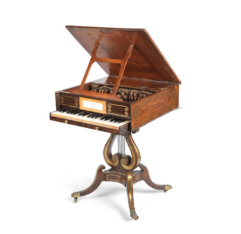A rare Regency rosewood, calamander banded and brass inlaid glassichord by Chappell of Bond Street