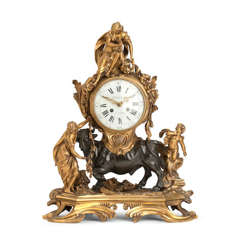 An 18th century style ormolu mantel clock Inscribed Dutertres A Paris, the case in the style of J.J. de St. Germain