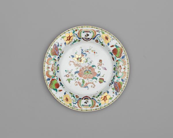 A famille rose 'Pompadour' pattern dish Qianlong, c. 1745