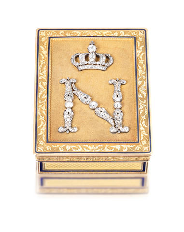 A French Imperial presentation gold, enamelled and diamond-set snuff box by Veuve Blerzy, with the baby's head unofficial Paris guarantee mark for 20.5 carat gold, Paris circa 1809-1819, the flange incuse stamped 28/93 and engraved No 102 E