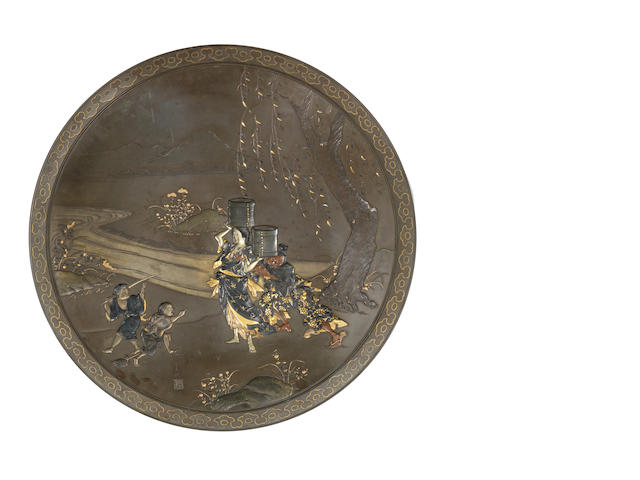 An inlaid bronze large dish By Miyao Eisuke of Yokohama, Meiji Period