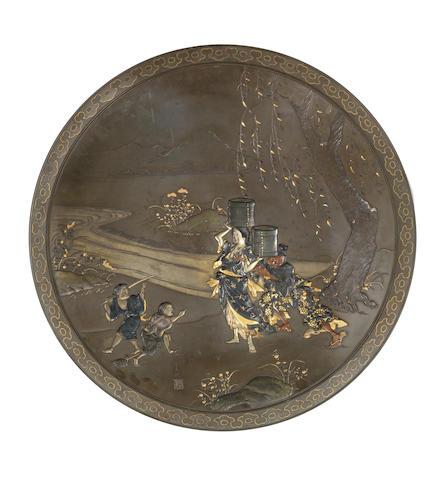 An inlaid bronze large dish By Miyao Eisuke of Yokohama, Meiji Period