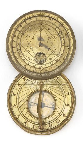 An Ulrich Schniep gilt brass portable horizontal sun and moon dial,