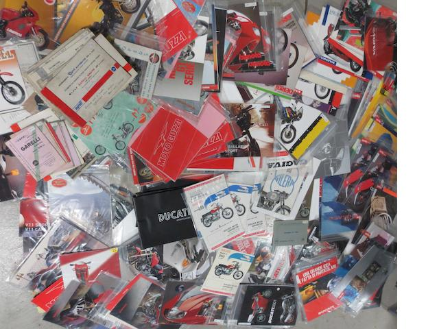 A quantity of assorted sales brochures for Italian motorcycles,