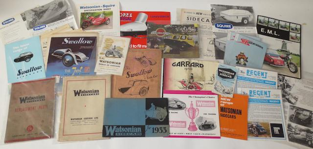 Assorted sidecar sales brochures,