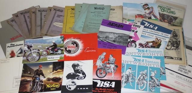 Assorted post-War Norton and BSA sales brochures,