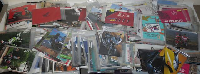 A good quantity of assorted sales brochures for Japanese motorcycles,