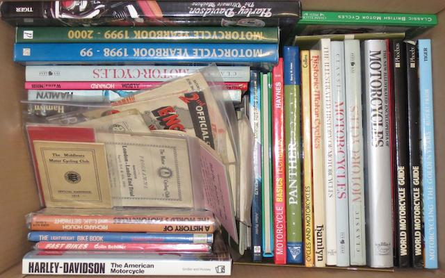 A quantity of assorted motorcycling books and literature,