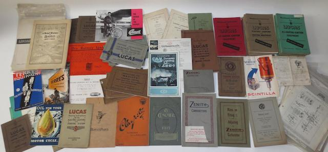 Assorted vintage and pre-War motorcycling accessories brochures,