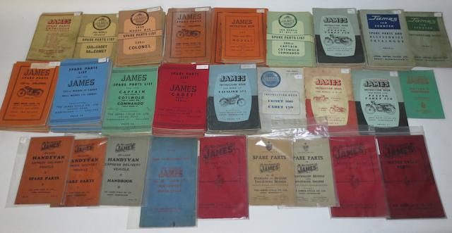 A quantity of James spares lists and instruction books,