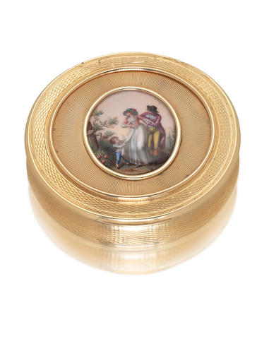 A George III eighteen carat gold and enamelled box by Alexander James Strachan, London 1806