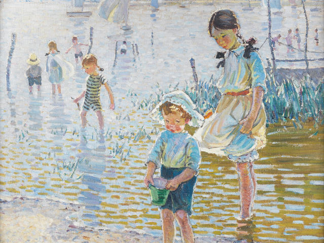 Dorothea Sharp, RBA, ROI (British, 1874-1955) Children paddling at Bosham