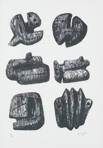 Henry Moore O.M., C.H. (British, 1898-1986) Six Stones Lithograph, 1973, on TH Saunders, signed and numbered 96/200 in pencil, printed by Curwen Prints, Cilford, published by British Olivetti Ltd, 354 x 253mm (14 x 9 4/5in)(SH)