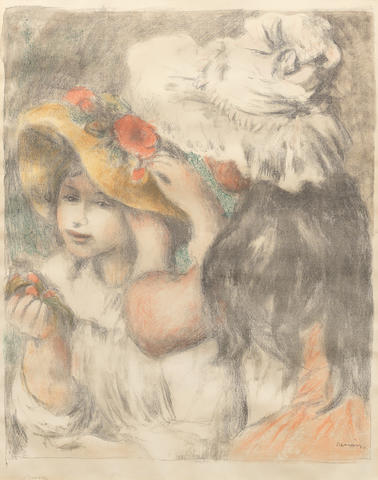 Pierre-Auguste Renoir (French, 1841-1919) Le Chapeau épinglé (Deuxième Planche) Lithograph printed in colours, 1898, on Arches Ingres laid, watermarked MBM, with the second printed signature in the lower margin, from the edition of 200, with full margins, 600 x 488mm (23 5/8 x 19 1/4in)(I)