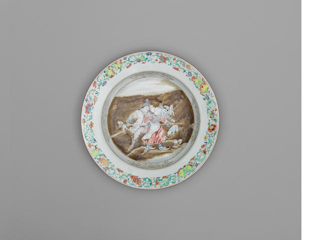 A rare famille rose export 'Skating Lesson' dish Qianlong