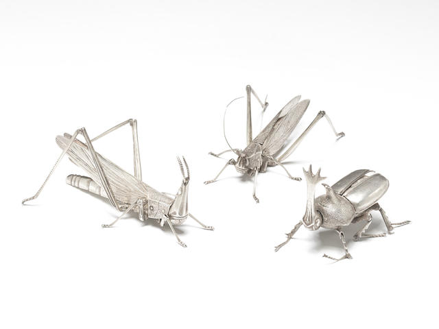 A remarkable and fine quality complete set of twelve articulated silver insects By Takase Torakichi (Kozan, 1869-1934) of Kanazawa, Meiji/Taisho Period