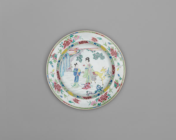 A large famille rose export dish 18th century