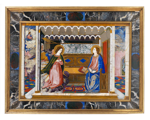 A Florentine early 18th century pietre dure panel, The Annunciation possibly by Baccio Cappelli, of the Grand Ducal Workshops, Florence